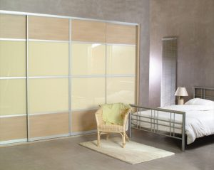 Swiss Pear Door Panels with Beige Light Glass