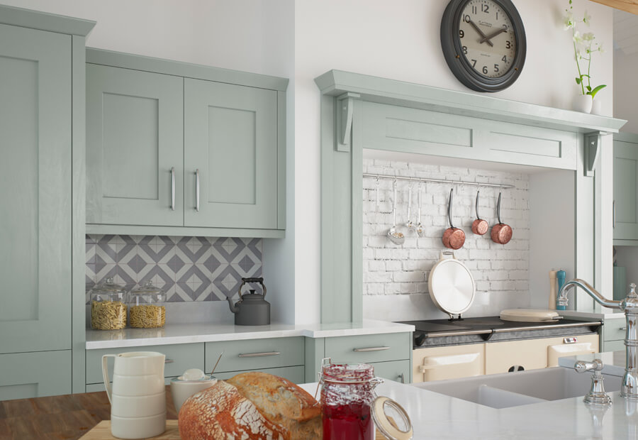 Traditional Country Classic Clonmel Knotty Oak Painted Light Blue Kitchen  Cabinets Overmantle
